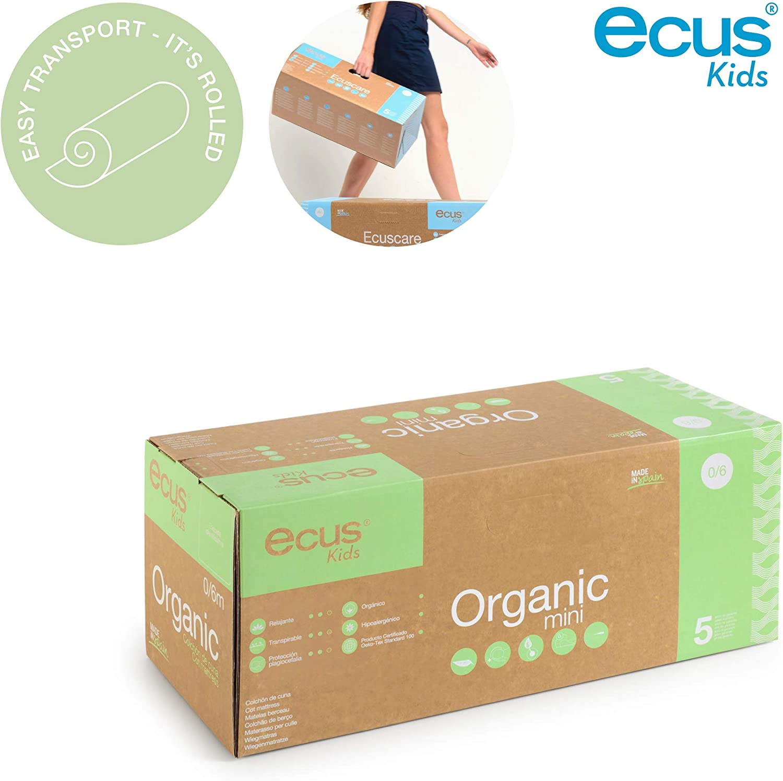 Organic el colch/ón de cuna organico de dos caras 117x57X12 Ecus Kids