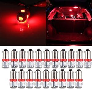 cciyu 20 Pcs T11 BA9S 5-5050-SMD LED Red Light Bulb Car 12V Lamp T4W 3886X H6W 363