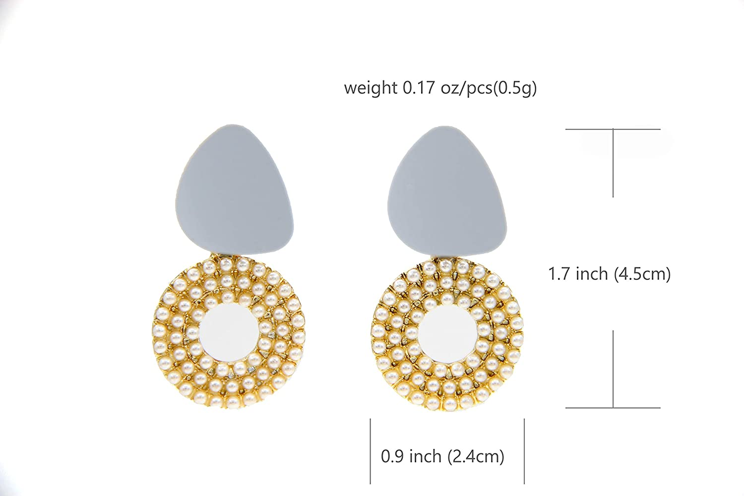 Geometry Triangle Circle Drop Pearl Earringsfor women,Unique Design Drop Dangle Jewelry for girl,Adorable gift