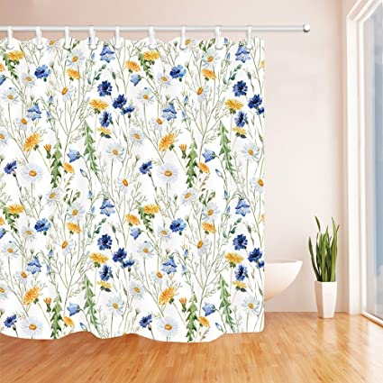 Floral Shower Curtain Roses Decor By Chengsan Poppies And Daisies Printing Wild Flowers Watercolor