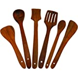 Craftgasmic Handmade Wooden Serving and Cooking Spoon Kitchen Utensil Set of 6