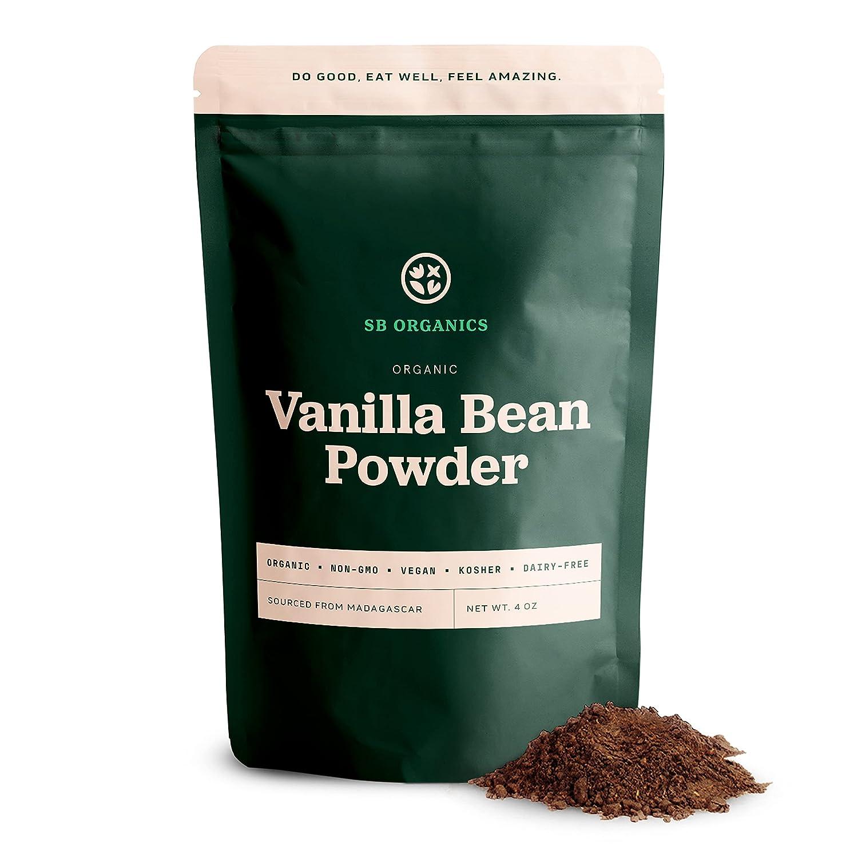SB Organics Madagascan Vanilla Bean Powder - 4 oz Resealable Bag of Organic Non-GMO Vegan Kosher Unsweetened Pure Vanilla Powder from Madagascar - Free of Gluten, Dairy, and Soy