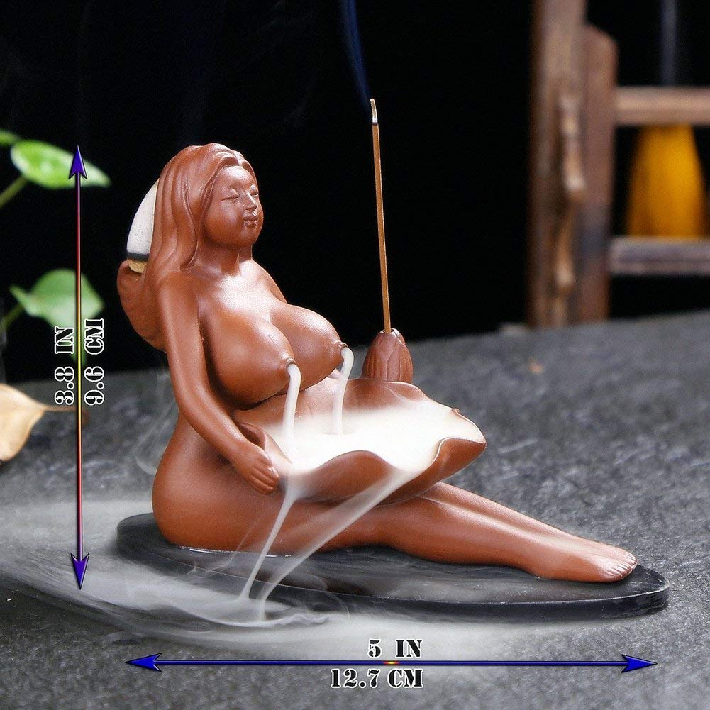MIRUIKE Ceramic Incense Holder Backflow Incense Burner Incense Holder Beauty Women Home D/écor Craftwork Figurine with 10 Free Cones