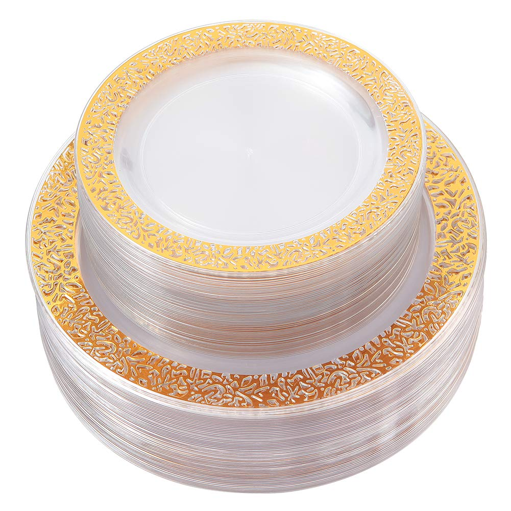 Gold Plastic Plates 102 Pieces, Disposable Dinner Plates, ELegant Clear Lace Plates Includes: 51 Dinner Plates 10.25 Inch and 51 Salad/Dessert Plates 7.5 Inch