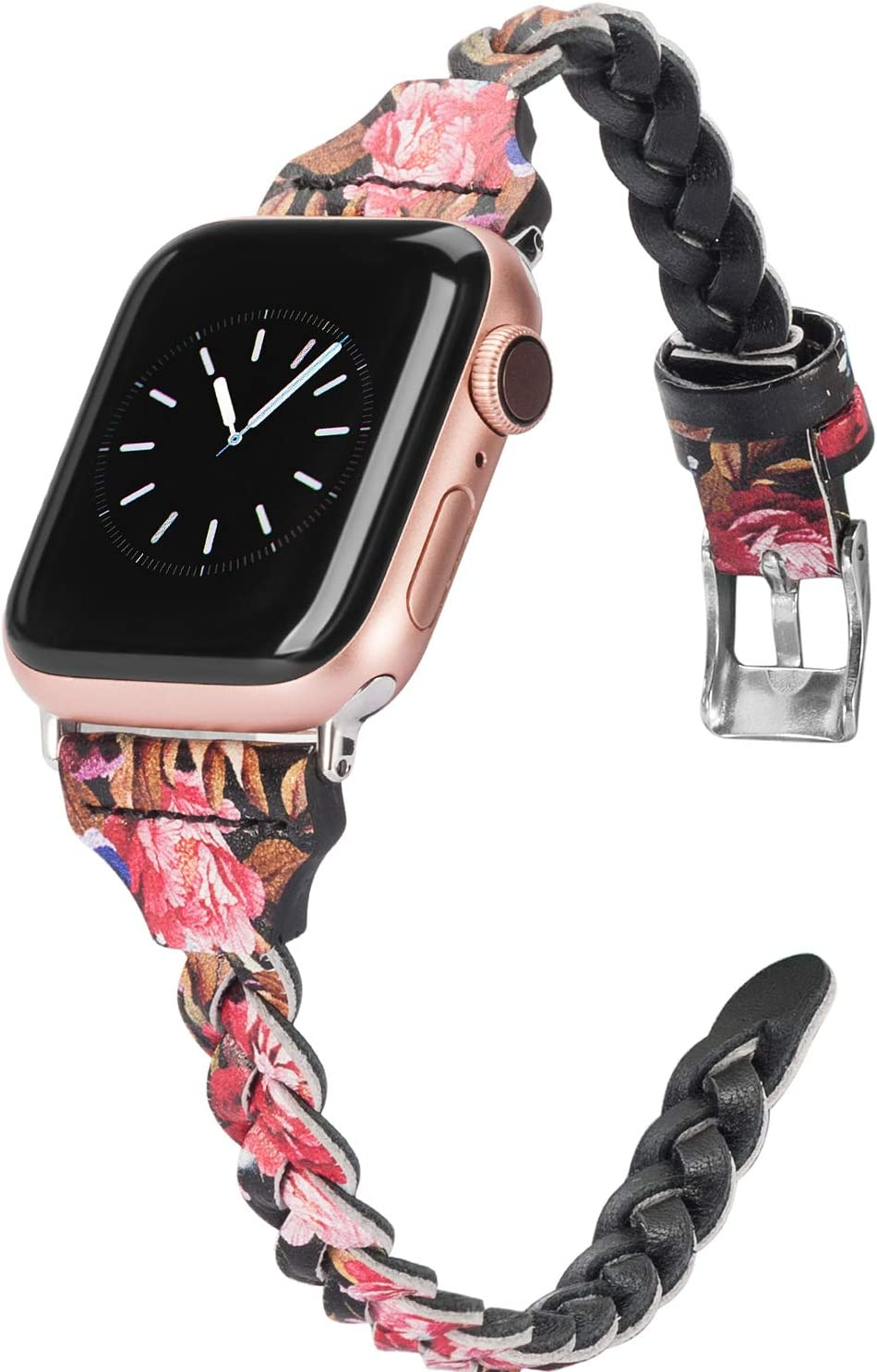 Wearlizer Floral Band Compatible with Apple Watch Band 38mm iWatch Bands 40mm Plait Style Slim Leather Replacement Wrist Band for Apple Watch SE Series 6 5 4 3 2 1