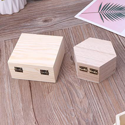 babyHUIH Wood Box Unfinished Plain Wooden Jewelry Storage Pencil Case DIY Craft