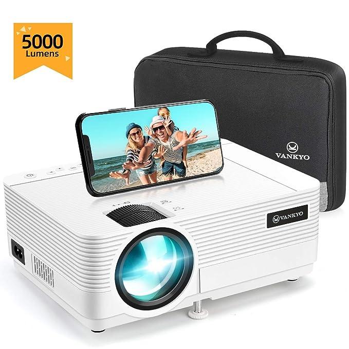 """VANKYO Proyector 720P Native 5000 Lumen, Pantalla de 250 """" HiFi Speaker, 2 Puertos HDMI, con Bolsa Portátil, Diseño Compacto para iOS / Android TV Stick Home Cinema Regalo, Leisure 470C"""