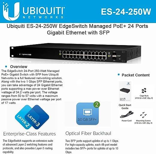 Ubiquiti Edgeswitch 24 250w 24 Gigabit Rj45 Ports 2 Elektronik