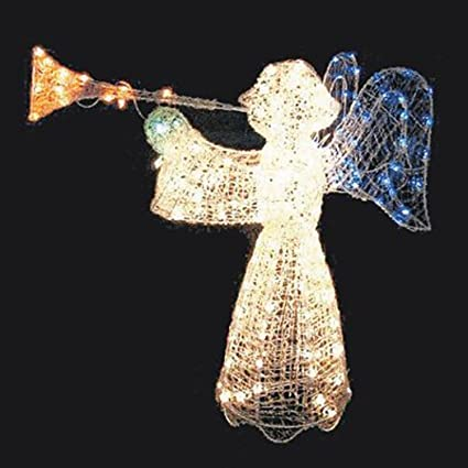 48 animated crystal 3 d angel with trumpet lighted christmas yard art decoration - Christmas Angel Yard Decorations
