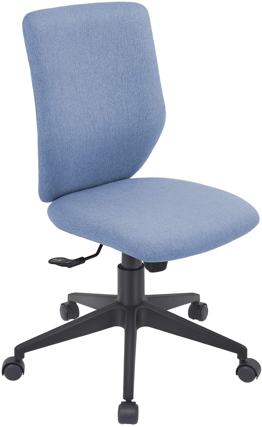Bowthy Armless Office Chair Ergonomic Computer Task Desk Chair Without Arms Mid Back Fabric Swivel Chair (Blue)