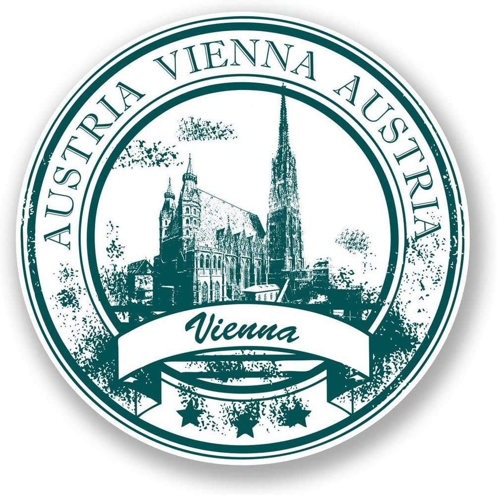 2 x 10cm/100mm Vienna Austria Vinyl SELF Adhesive Sticker Decal Laptop Travel Luggage Car iPad Sign Fun #5940