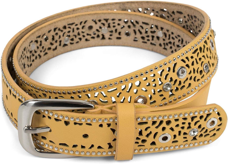 styleBREAKER Cintura donna con motivo traforato strass e borchie cintura borchiata vintage accorciabile 03010092 stile pizzo