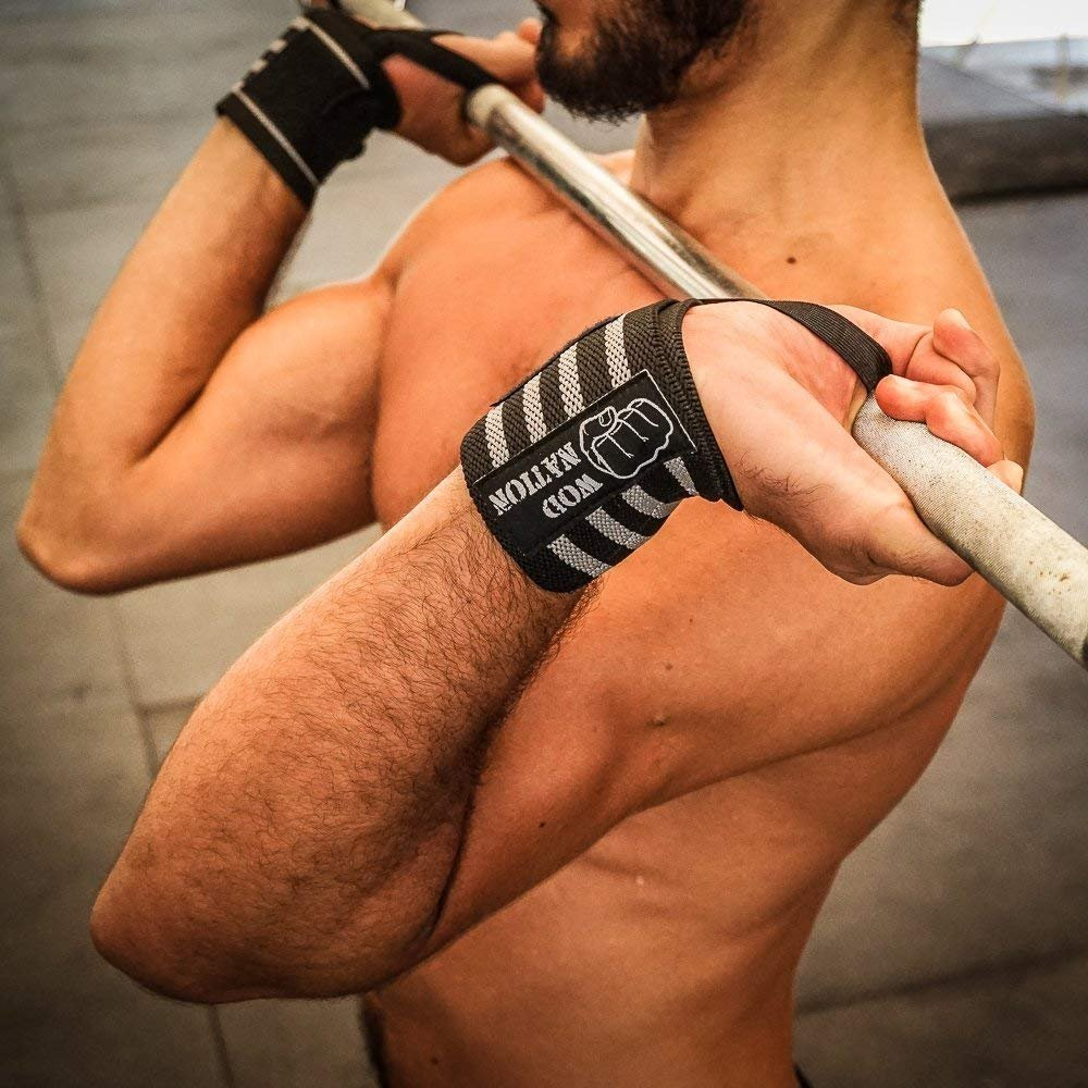 WOD Nation Wrist Wraps Wrist Support Straps Lift Heavier Weight - Fits Both Men /& Women Weightlifting Powerlifting 12 or 18 Free Carrying Bag Included Strength Training