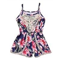 Canis Newborn Baby Girls Floral Ruffle Lace Sling Short Romper Sleeveless Bodysuit
