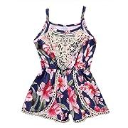 Canis Newborn Baby Girls Floral Ruffle Lace Sling Short Romper Sleeveless Bodysuit (0-6M, Dark Blue)