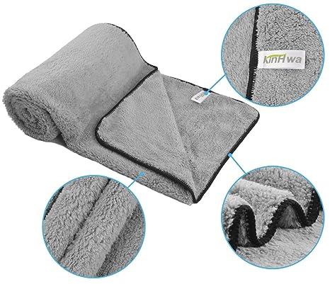 KinHwa microfibra toallas de baño para mascotas limpieza perros y gatos 40cm x 100cm Gris