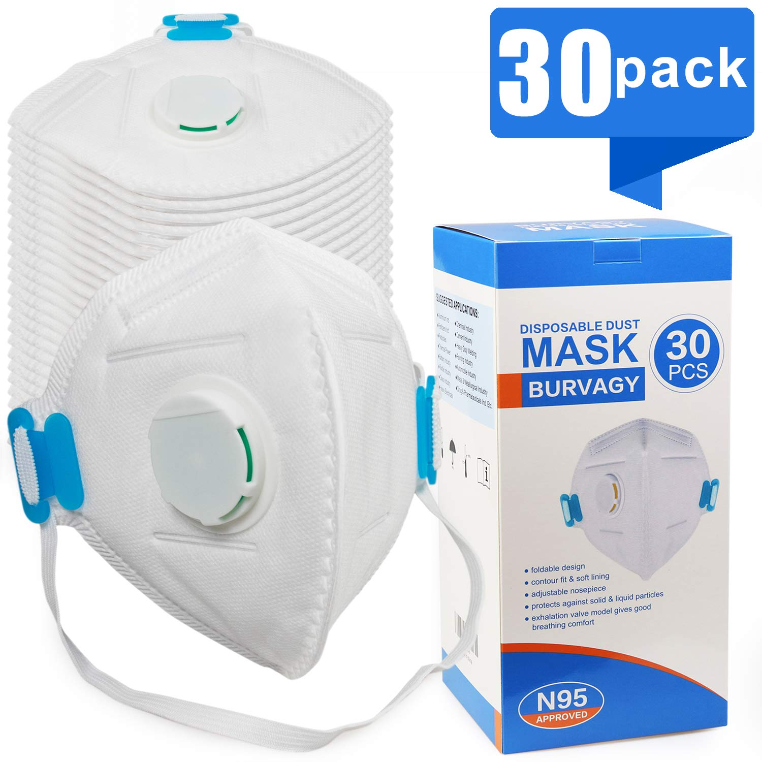 Disposable Dust Mask with Exhalation Valve (30 pack), Personal Protective Equipment - N95 Particulate Respirators for Construction, Home, DIY Projects by BURVAGY