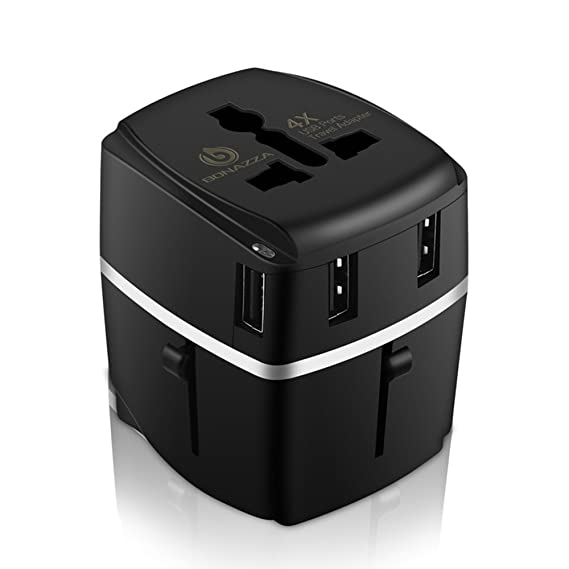 Amazon.com  BONAZZA Universal World Travel Adapter Kit with 4Amps 4 ... 7c0c640c7a349