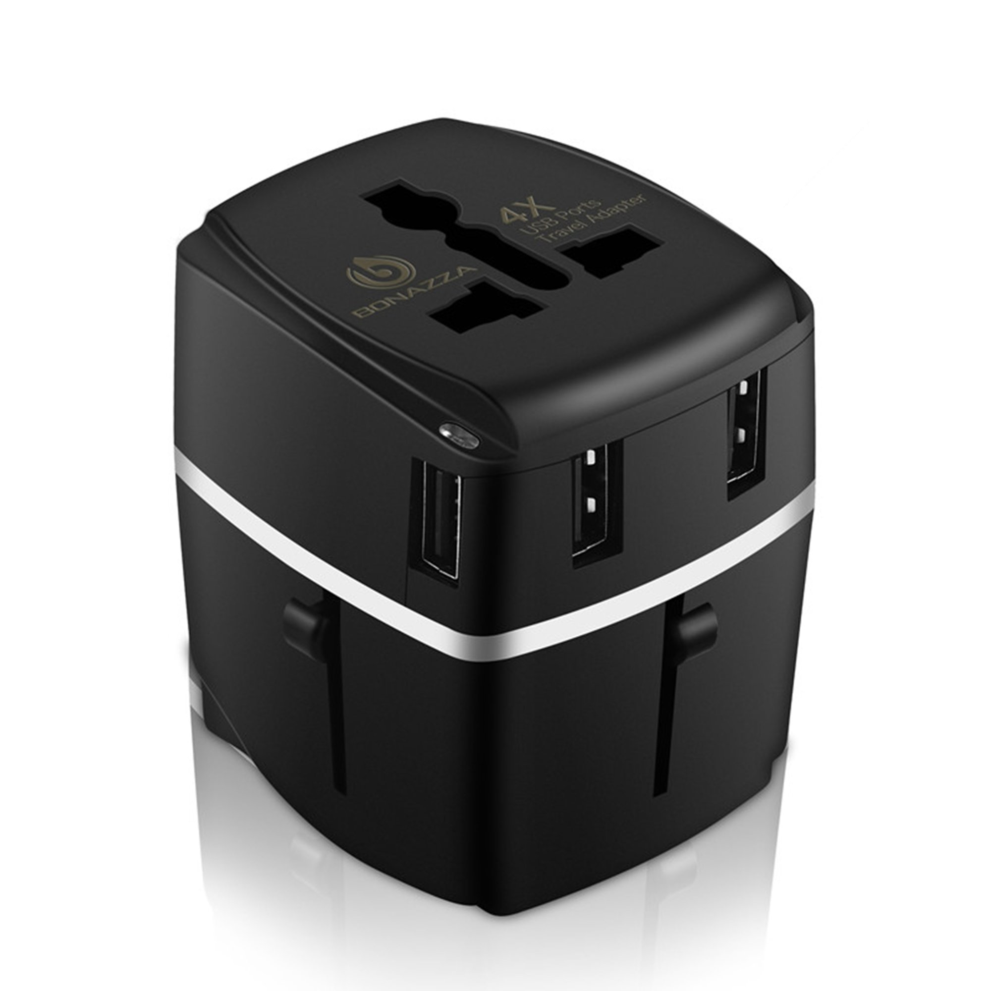 BONAZZA Universal International Travel Adapter Kit with 4Amps 4 USB Ports - UK, US, AU, Europe All in One Plug Adapter - Over 150 Countries & USB Power Adapter for iPhone, Android, All USB Devices