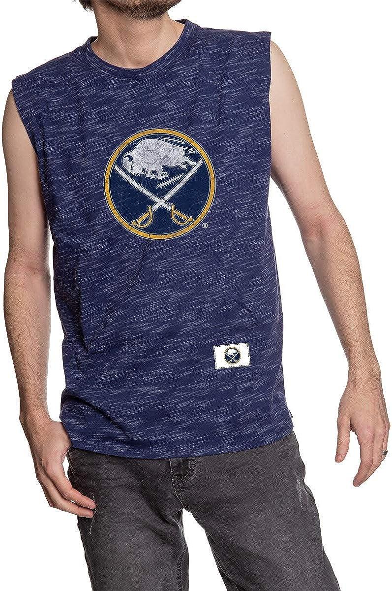 Calhoun NHL Mens Team Logo Crew Neck Space Dyed Cotton Sleeveless T-Shirt