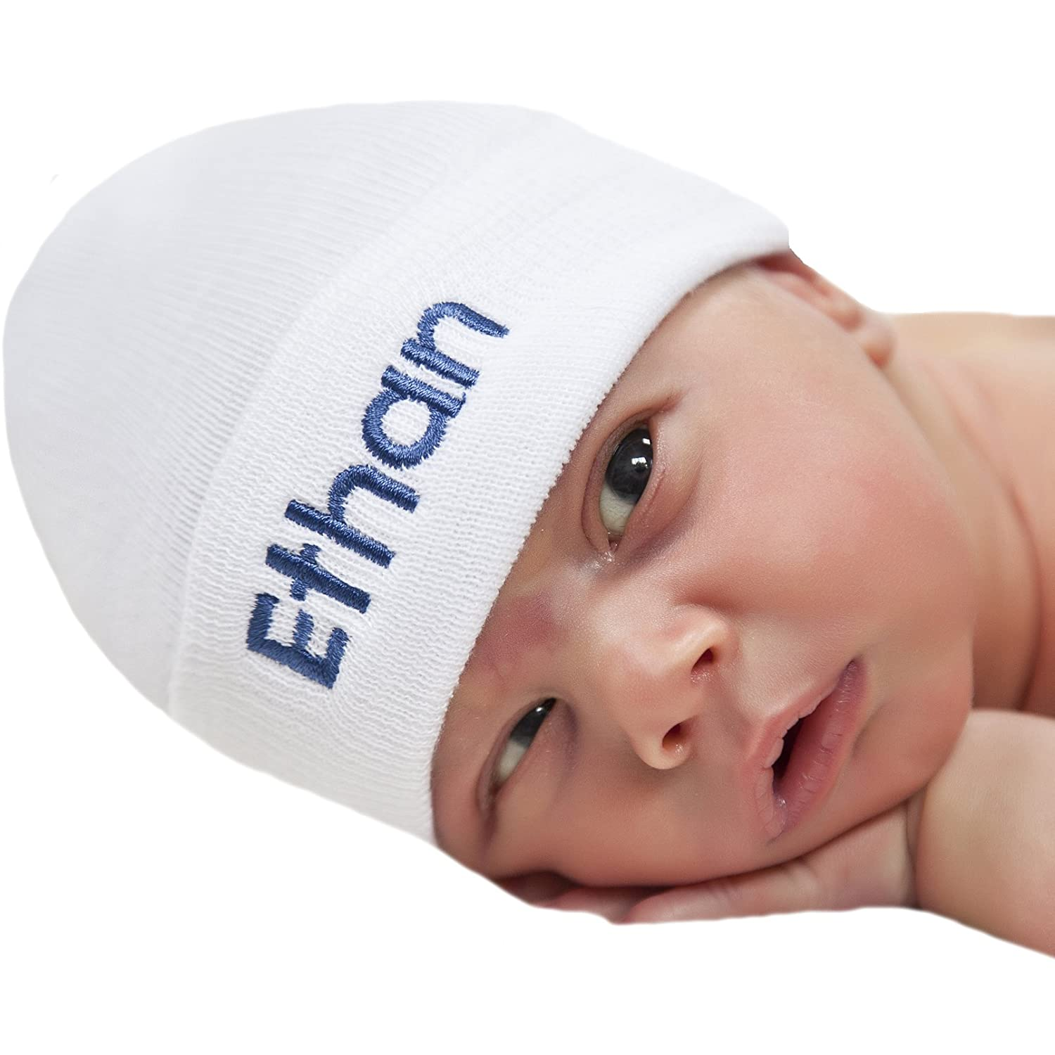 Amazon.com  Melondipity White Personalized Newborn BOY hospital baby hat   Clothing 94563a46d8a