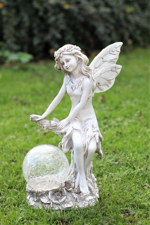 HH Home Hut Garden Solar Ornament Ball Cherub Fairy Angel Figurine Angel Statue 33cm Tall