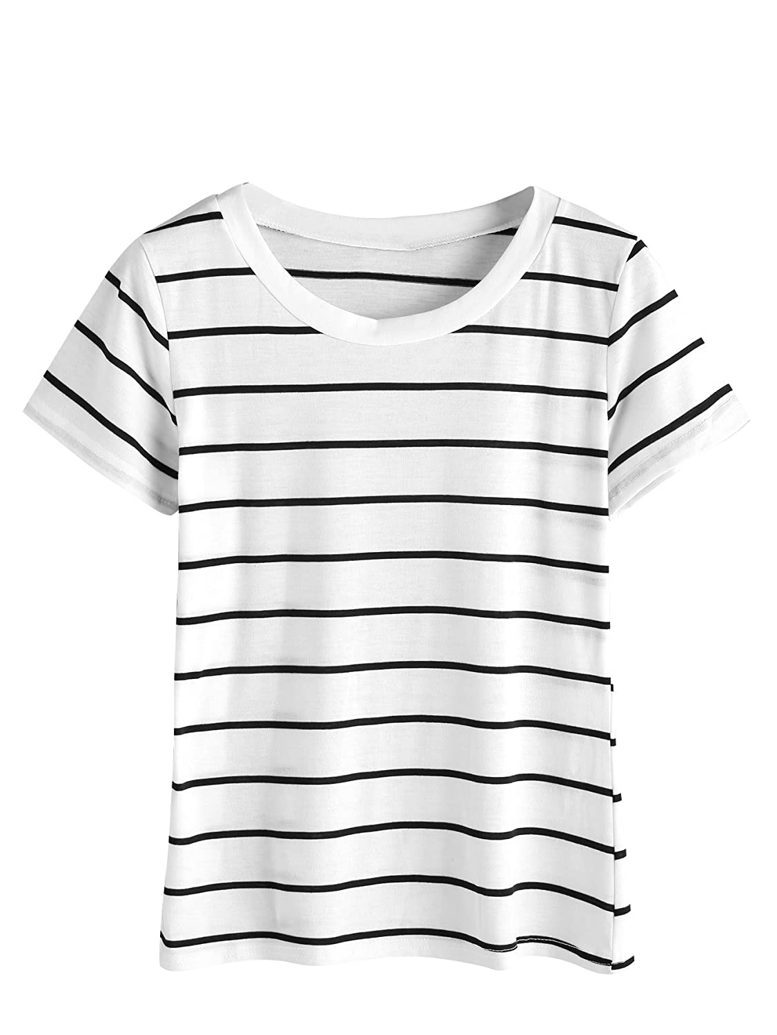 1940s Blouses and Tops MakeMeChic Womens Casual Loose Striped Short Sleeve T-Shirt Tee Top $12.99 AT vintagedancer.com