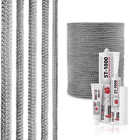STEIGNER Corde en Fibre de Verre SKD02-6 2 m 6 mm Scellant Gris Fonc/é R/ésistante /à la Temp/érature jusqu/à 550 /° C