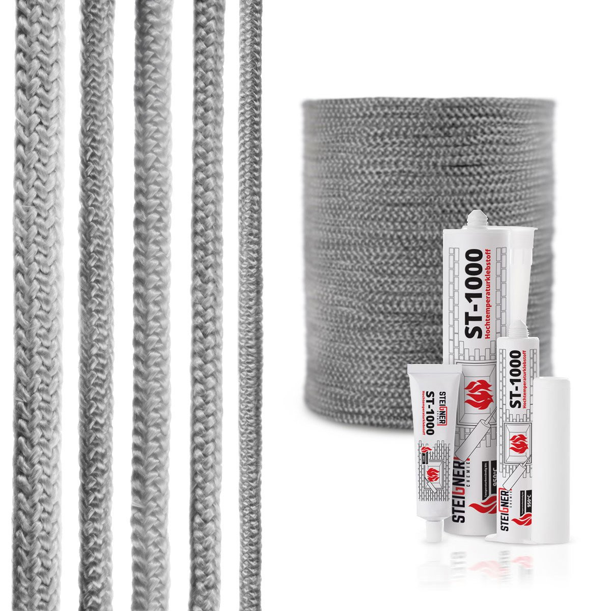 STEIGNER Fiberglass Rope SKD02-10 1, 5 m 10 mm Dark Gray With Thermal Mounting Adhesive Temperature Resistant up to 550°C or 1022°F
