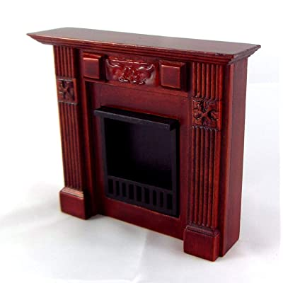 Dollhouse Miniature 1:12 Scale Mahogany Elizabeth Fireplace #T3844: Toys & Games