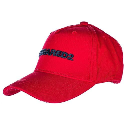 Dsquared2 cappello berretto regolabile uomo in cotone d2 baseball rosso   Amazon.it  Scarpe e borse e58e3fe7c5ae