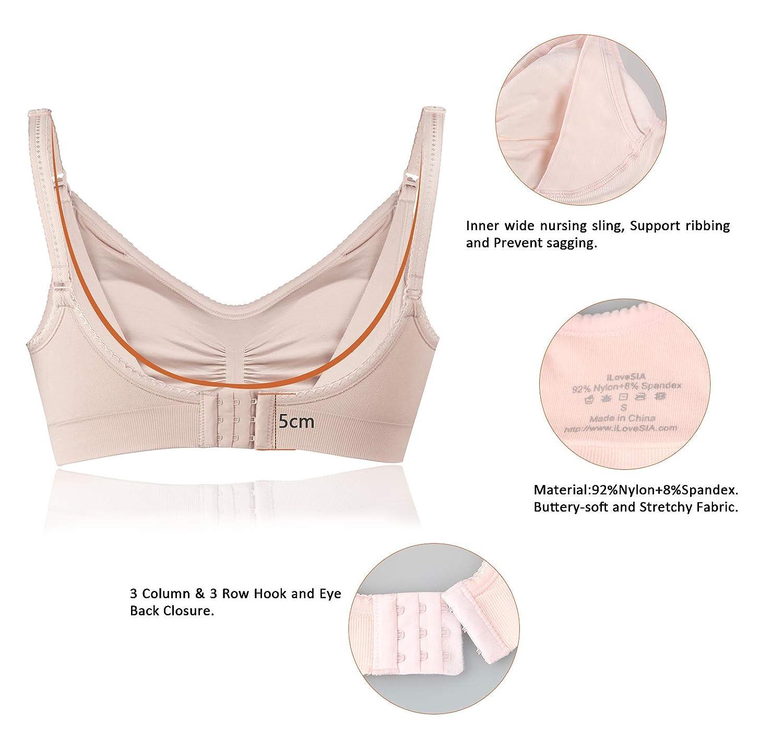 330e476ff4 iLoveSIA Womens Seamless Sleep Nursing Bra for Breastfeeding Clip Down  Maternity Bras Pack of 4 S2470284P