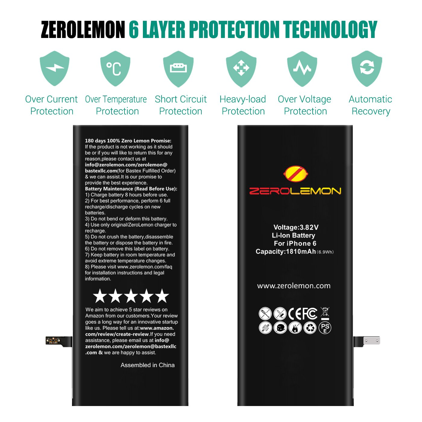 Diy Repair Iphone 6 Schematic Diagram Electrical Wiring Diagrams 5 Logic Board Amazon Com Zerolemon 1810mah Battery For Replacement With Motherboard