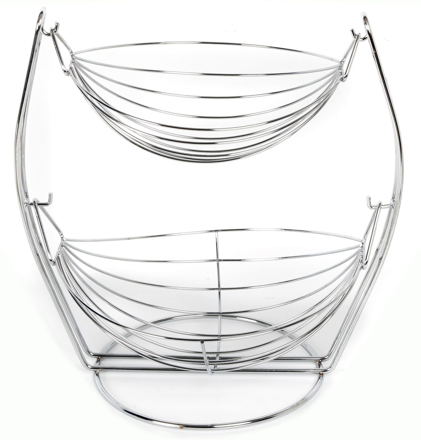 2 Tier Chrome Swinging Fruit Vegetable Bowl Basket Rack Storage Stand Holder New Sifcon