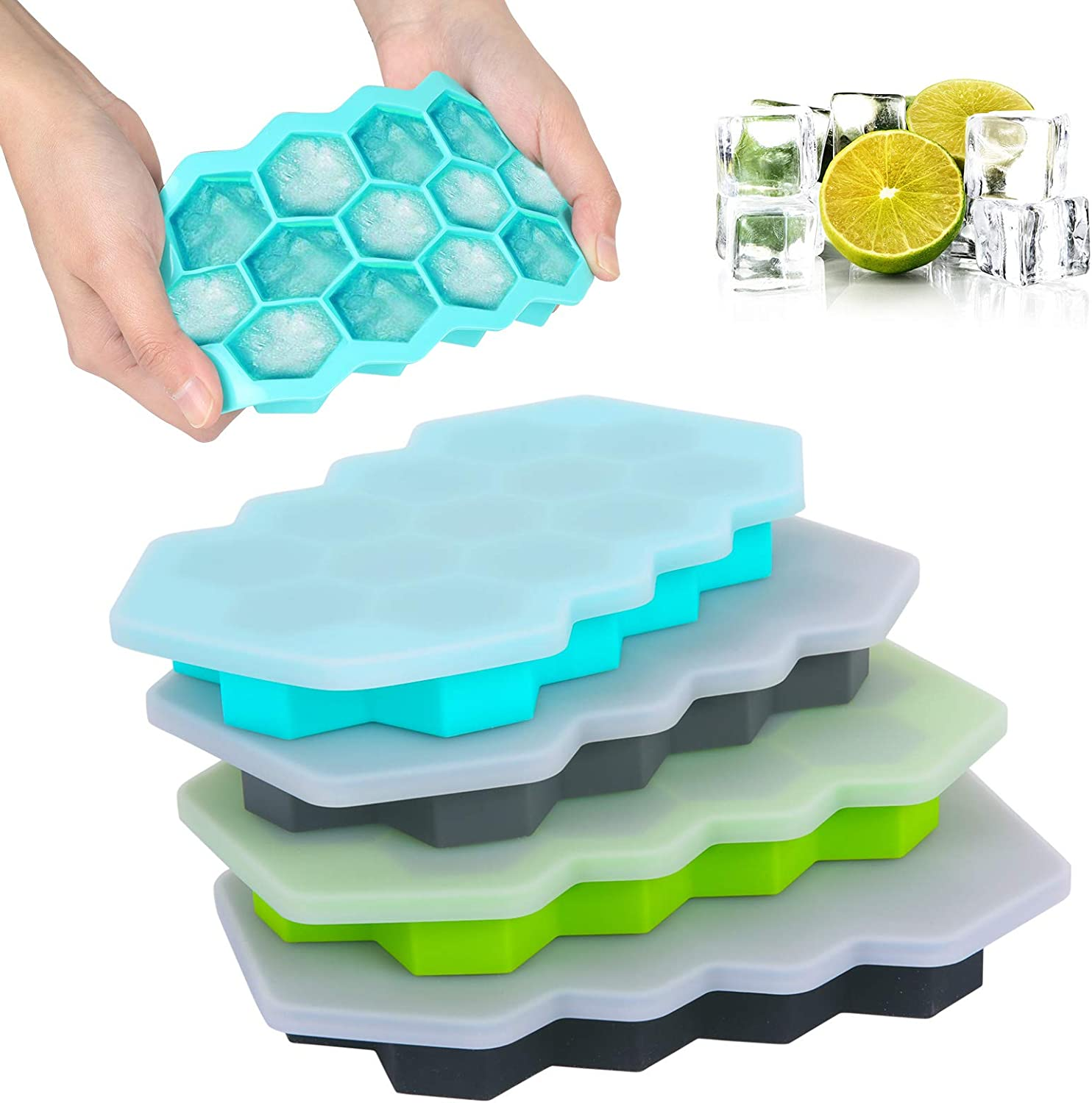 4pcs Silicone Ice Cube Tray with Lid, PAWACA BPA Free Easy Release ice cube molds & Mini Ice cube TrayS for Freezer Ice, Whiskey, Cocktails, Baby Food - Dishwasher Safe