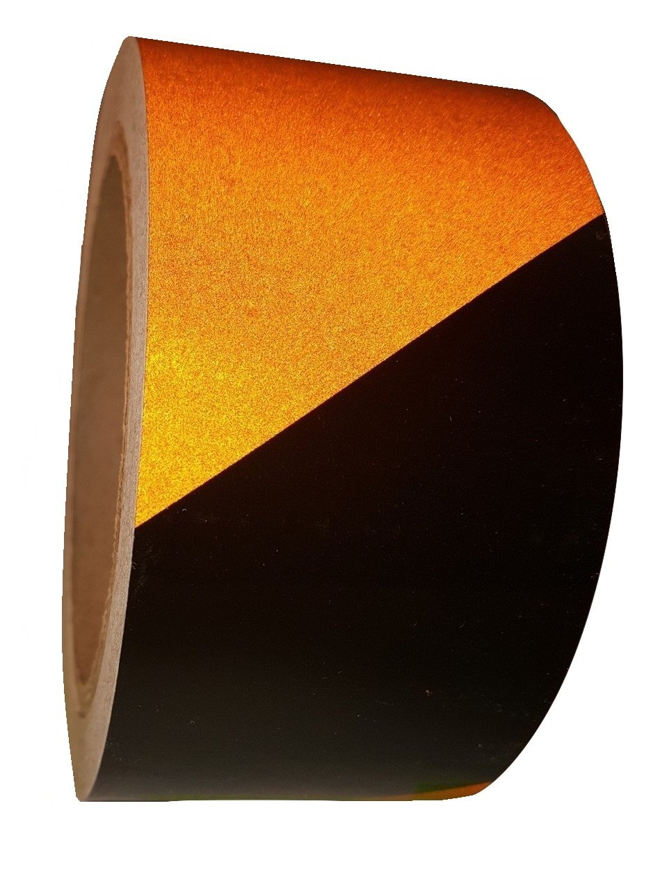 LiteMark Black/Orange EG-700 Engineering Grade Retro Reflective Tape - 3 Inch X 30 Foot Roll