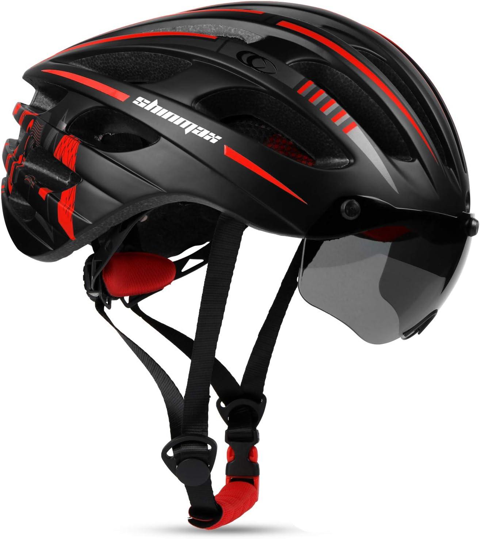 RC-088 Shinmax Casco de Bicicleta MTB,Casco Bicicleta para con Magn/ética Visera Casco MTB con Luz Trasera LED Recargable,Cuerda de Seguridad Reflectante Ligero Casco Bicicleta Adultos 60-64CM