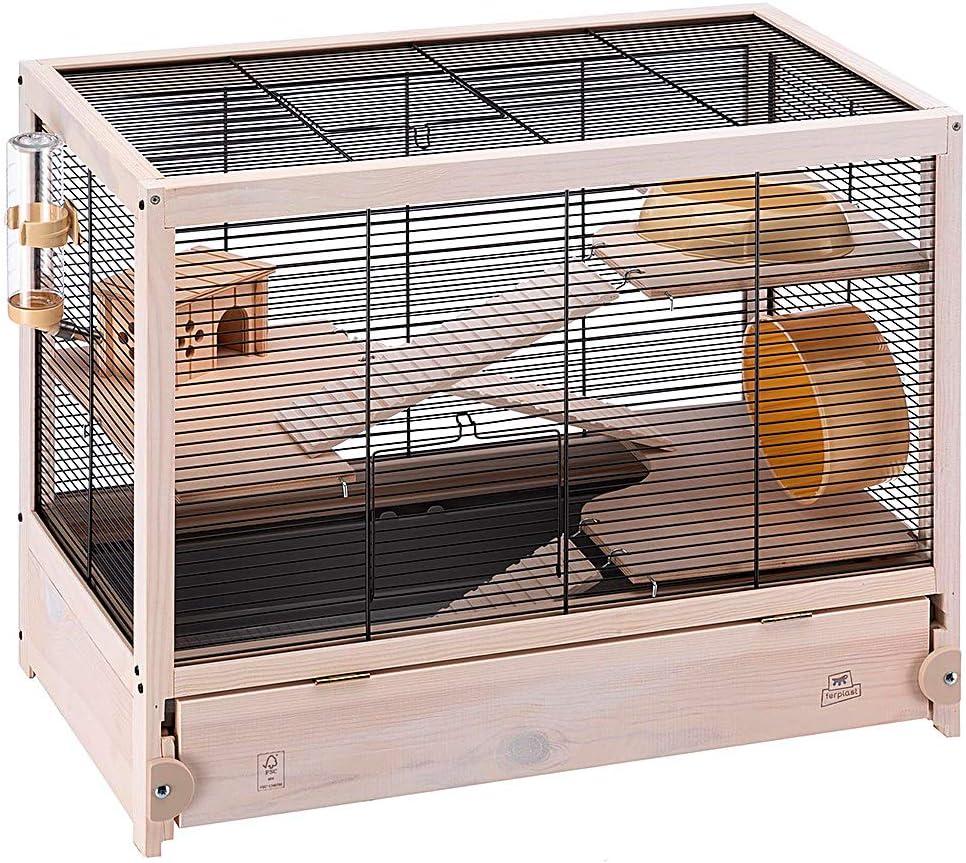 Ferplast Jaula de Madera para hámsteres HAMSTERVILLE, Casa para ratoncillos y pequeños roedores, Estructura en Varios Niveles, Accesorios incluidos, 60 x 34 x 49 cm Negro