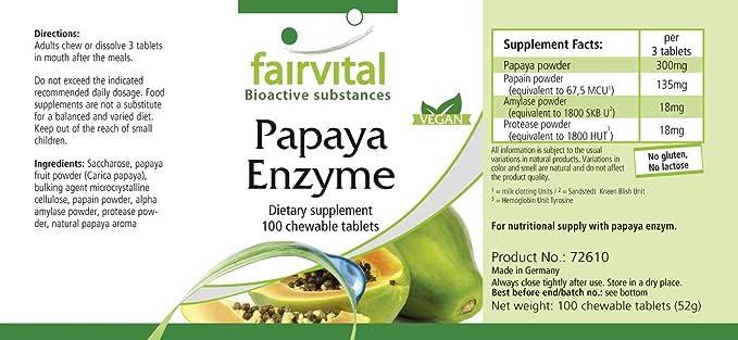 Enzima de Papaya - VEGANO - Altamente dosificado - 100 comprimidos - con papaína, amilasa y proteasa - ¡Calidad Alemana garantizada!