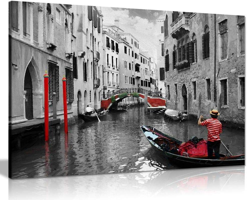 SC641 Vintage Venice Gondola Retro Landscape Black Wall Art Large Picture Print