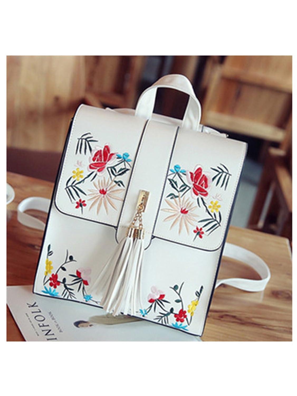 Amazon.com: Tyler Morrison Fashion Embroidery Girl Backpacks Cute School Bags New Women Backpack Pu Leather Female Shoulder Bag Mochilas Mujer Black ...