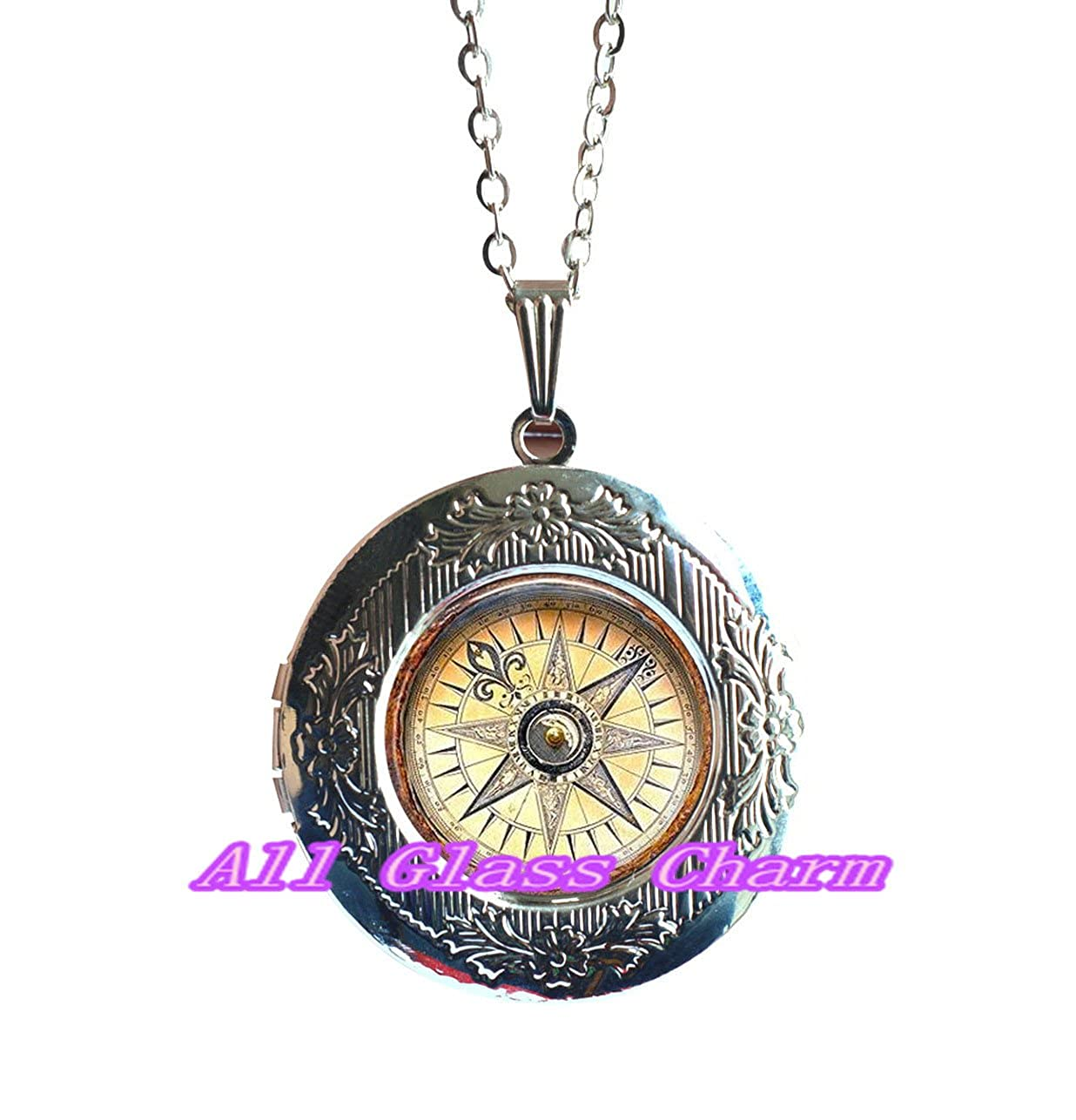 Jewelry for Traveler or Graduate Graduation Gift Bon Voyage Grad Gift Compass Locket Necklace,AS0128 Find Your Way Beautiful Locket Necklace,Compass Locket Pendant