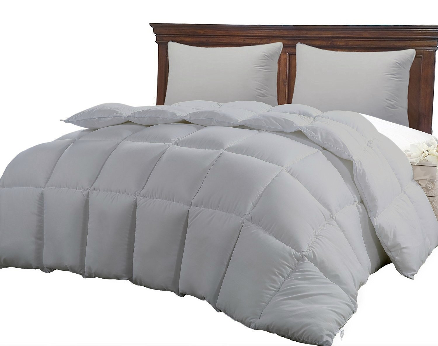 CGK Unlimited King Size Comforter - Solid Squared Duvet Insert Gray - Softer Than Goose Down Alternative Duvets - All Season Comforters