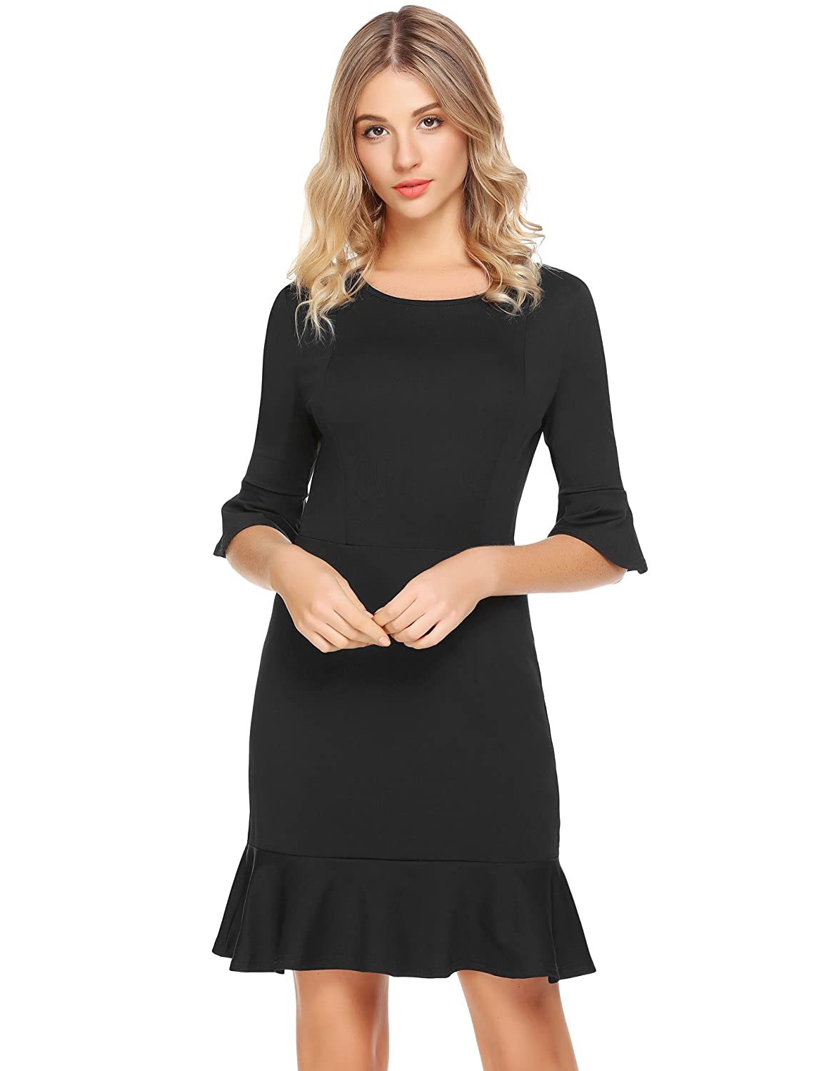 6090382d1866 ELESOL Womens Elegant 3/4 Bell Sleeves Work Party Cocktail Sheath Fishtail  Dress at Amazon Women's Clothing store:
