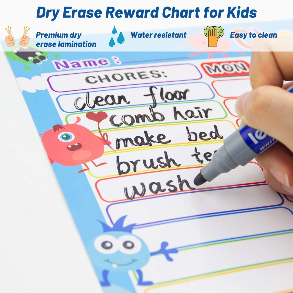 Chore Chart for Kids Dry Erase Reward Chart Reusable Self-Adhesive Behavior Chart