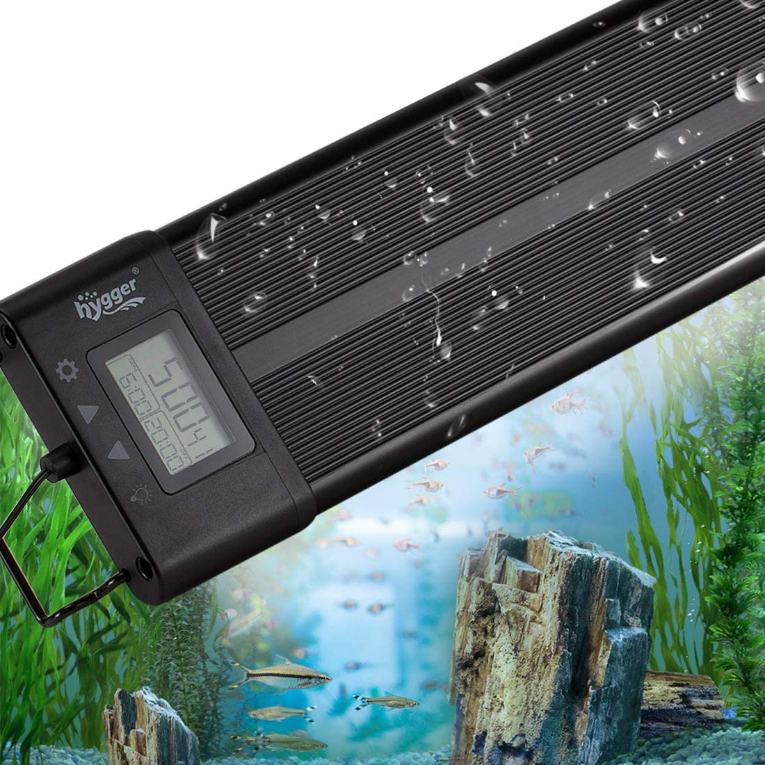 hygger Aquarium Programmable LED Light, Full Spectrum Plant Fish Tank Light Extendable Brackets with LCD Setting Display, IP68 Waterproof, 7 Colors, 4 Modes for Novices Advanced Players