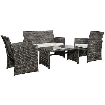 Goplus 4 PC Rattan Patio Furniture Set Garden Lawn Sofa Cushioned Seat  Wicker Sofa (Mix