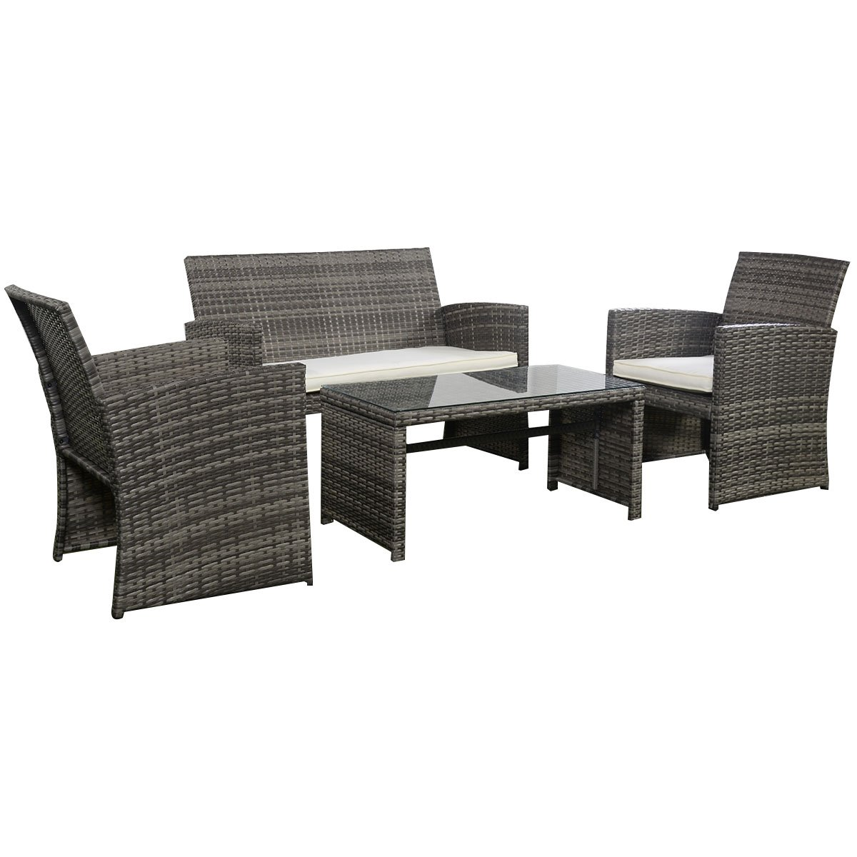 Goplus 4 PC Rattan Patio Furniture Set Garden Lawn Sofa Cushioned Seat Wicker Sofa (Mix Gray) by Goplus