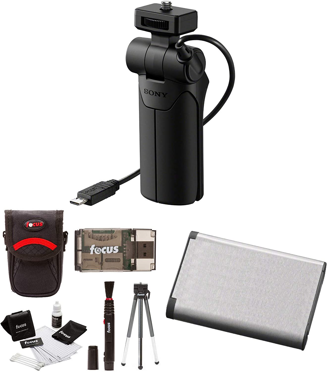 3 Items Sony VCT-SGR1 Shooting Grip and Tripod for Compact Cameras with Spare Battery Pack and Charger Set and Accessory Bundle