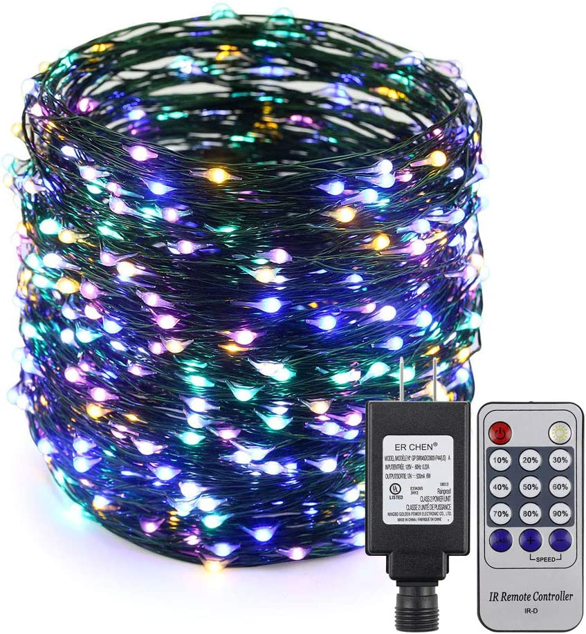 ER CHEN 165ft Led String Lights, 500 Led Starry Lights on 50M Green Copper Wire String Lights Power Adapter + Remote Control(Multicolor)